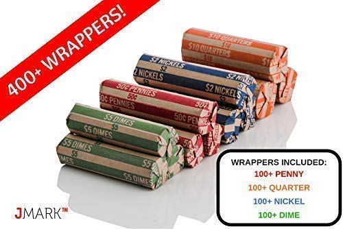 J Mark Neatly-Packed Flat Coin Roll Wrappers (Quarters, Dimes, Nickels, Pennies), ABA Striped Kraft Paper Coin Roll Wrappers, Includes Free J Mark Deposit Slip, (400-Pack USD) by Brand: J Mark (Image #1)
