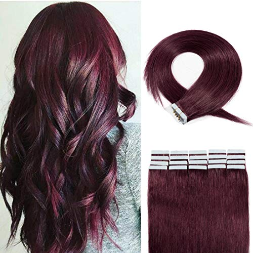 20 Pieces Rooted Tape in Hair Extensions Human Hair Seamless Skin Weft 100% Real Remy Invisible Tape Hair Extensions Straight Double Sided 18 inches #99J Wine red 30g
