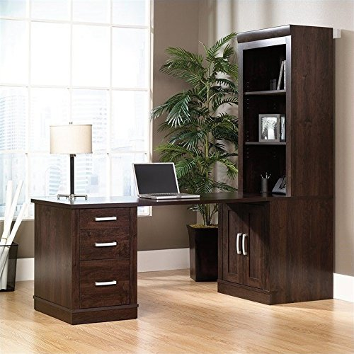 Sauder Office Port Library Desk with Hutch in Dark Alder Finish (Hutch Library)