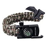 Paracord Survival Bracelet 500 LB - Hiking Gear Travelling Camping Gear Kit - Parachute Rope Bracelet,Compass Stone,Stainless Fire Scrapper,Flint Fire Starter,Survival Knife,Whistle (CamoRegulasr)