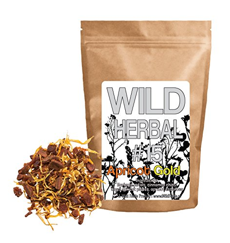 Wild Herbal Tea #15 Apricot Gold Blend by Wild Foods - 4 Ingredient Tea with Marigold Petals, Cinnamon, Diced Apricot, Apricot Essences, 100% Natural