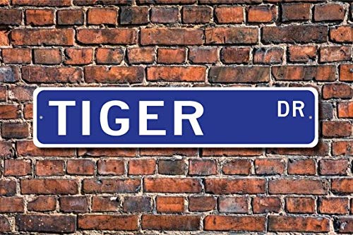 (Tiger, Tiger Gift, Tiger Sign, Tiger decor, Tiger lover, largest wild cat, zoo sign, striped animal, Custom Street Sign, Metal Sign,4