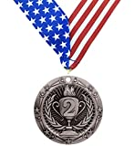 2nd Place Medal - Silver Medals - Comes with Exclusive Decade Awards Stars and Stripes American Flag V Neck Ribbon - 3 inch wide - Made of Strong Metal - Perfect for Competitions (SILVER (2nd Place))