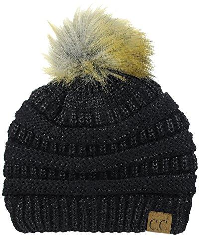 NYFASHION101 Exclusive Soft Stretch Cable Knit Faux Fur Pom Pom Beanie Hat - Black - Poms Black Pom Metallic