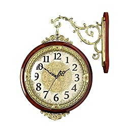 HENSE Wrought Iron Elegant Round Hanging Double Side Two Faces Rooms Clock Roman Numerals,Scroll Wall Side Mount Home Decor HDS05A-02