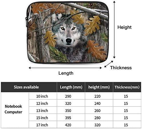 Camo Wolf Zipper Laptop Sleeve Bag Camo Wolf Carring Case Cover Protector Handbag 15 Inch for Notebook