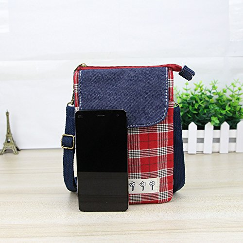 7 for Shoulder Note Square Pouch Women Galaxy Purse Cellphone Plus 6S Crossbody 8 9 Bag X XR 8 iPhone Wallet S8 S9 Xs Red SEqxO0wE