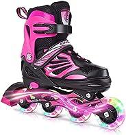 DIKASHI Black/Blue/Red Adjustable Inline Skates Boys Girls Kids Women Men Size,Light Up Adult Roller Blades Sk