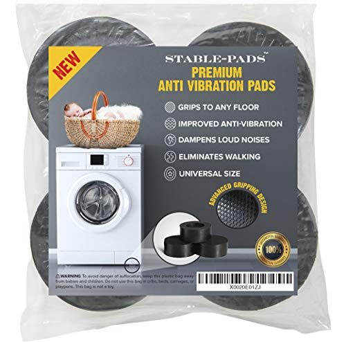STABLE-PADS Rubber, Non-Slip, Anti-Walk, Anti-Vibration Pads for Washer & Dryer. Perfect for Vibration Isolation & Noise Reduction on Washing Machine & Dryer Appliances | Fits All Models (Anti Vibration Pads For Front Load Washer)