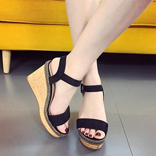 BeautyTop Pantofole Estate da Sandali Scarpe Aperte Donna Sandalo Ragazze Tacchi Alti Estivi con Zeppa Sandali a Pendenza Elegante nero Bocca Peep Pesce di r8rfZx