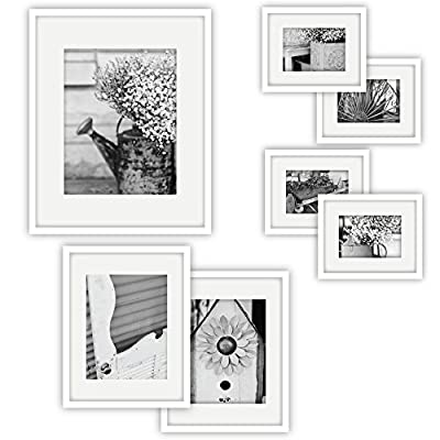Amazon.com: GALLERY PERFECT 7 Piece White Photo Frame Wall Gallery ...