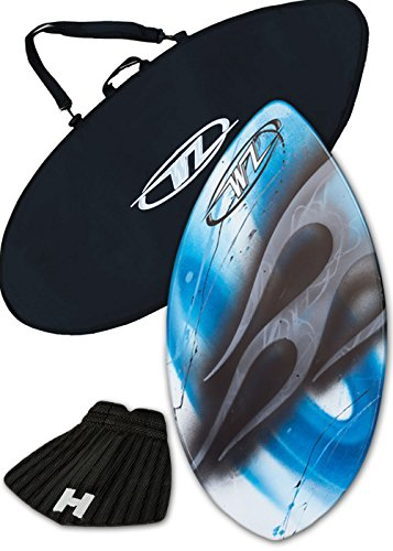 Skimboard Package for beginners – Blue – 36 Fiberglass Wave Zone Squirt plus Board Bag and or Traction Pad – For Riders up to 90 lbs