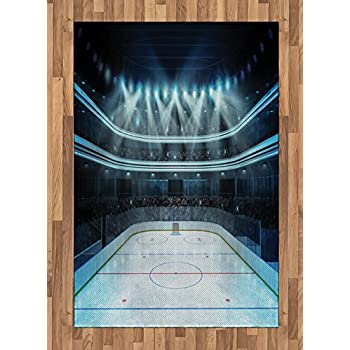 Ambesonne Hockey Area Rug, Photo of a Sports Arena Full of People Fans Audience Tournament Championship Match, Flat Woven Accent Rug for Living Room Bedroom Dining Room, 4' X 5.7', Dark Blue