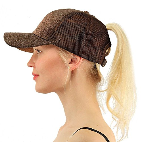 (Ztl Glitter Baseball Cap High Messy Bun Ponytail Adjustable Mesh Visor Cap Hat, Adults, Brown, One Size)