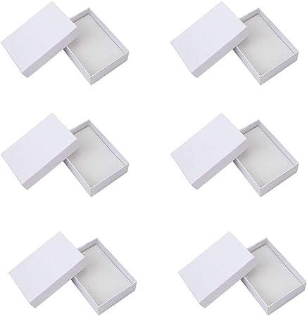 NBEADS - Juego de 6 Piezas de Joyería de Cartón Blanco para Pendientes, Anillos, Cajas de Regalo con Tapa, 90 X 65 X 28 Mm: Amazon.es: Hogar