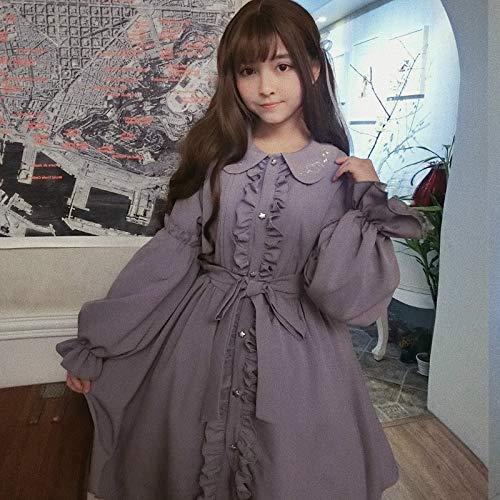 Anglo Angel Women Lolita Princess Dress Peter Pan Collar Puff Sleeve Fairy Dolly Skirts Lavender