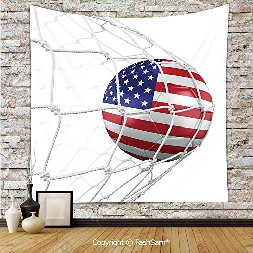 FashSam Hanging Tapestries USA American Flag Printed Soccer Ball in a Net Goal Success Stylized Artwork Wall Blanket for Living Room Dorm Decor(W59xL78)]()