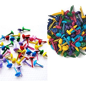 Polytree 100Pcs Mini Brads Multicolor Paper Craft Stamping Scrapbooking DIY Tool size 8 mm