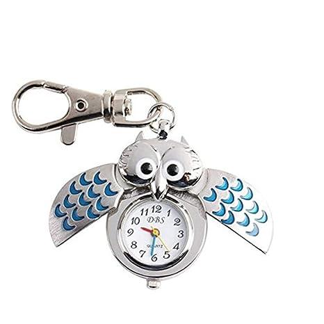 Kangges Llavero para Forma de Reloj de búho a Mano Llavero para Coche pequeño Decoración del Coche/Puerta/Teléfono/Bolsa (Azul)