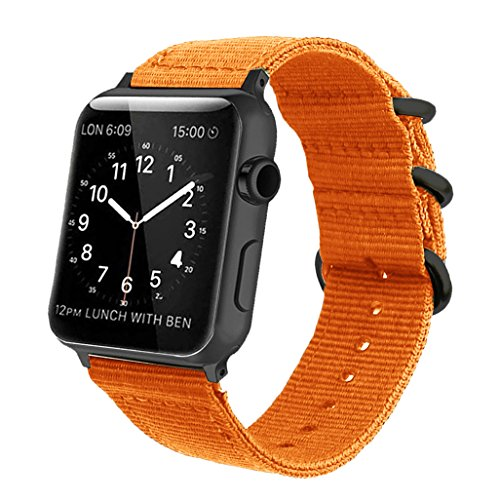 Orange Nylon Compatible for Apple Watch Band 38mm/42mm NATO Replacement Wrist Woven Strap with Black Steel Adapters&Buckle Compatible for iWatch Band Series 3,2,1 Sport Nike+ Men&Women