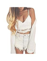 Women's Intimates, ABC Women sexy Crochet Tank Camisole sexy Lace Vest Blouse Bralette Bra Crop Top Intimates Underwear shirt