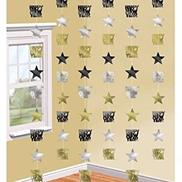 Black, Silver & Gold Happy New Year Star String Decorations x 6 ...