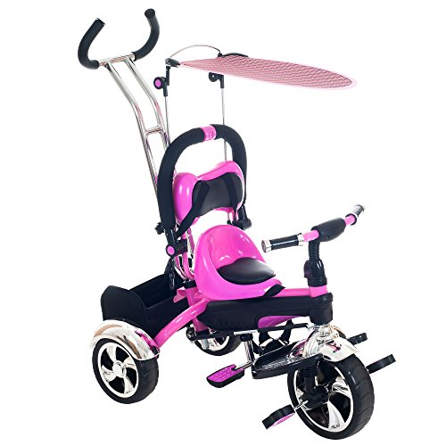 Tricycle Stroller Bike, 3-1 Stroller with Removable Canopy and Stroller Organizer by Lil' Rider, Ride on Toys for Boys and Girls, 1 - 5 Year Old, Pink