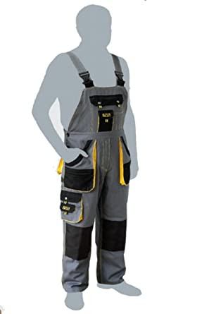 Bib and Brace Overalls Mens Work Trousers Knee Pad Dungarees Multi Pocket GREY.