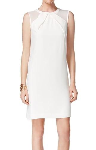 Tahari By ASL Women's Shift Pleather Dress White Ivory 8