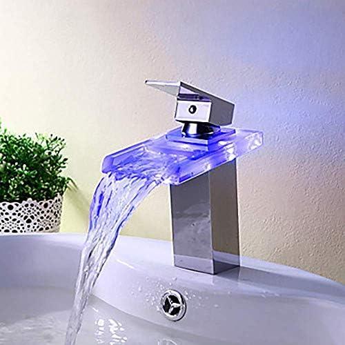 Gulakey ハイエンドLED現代のマルチカラーの浴室のシンクの蛇口 - 滝単穴/シングルハンドルの一つ蛇口/真鍮プリティ