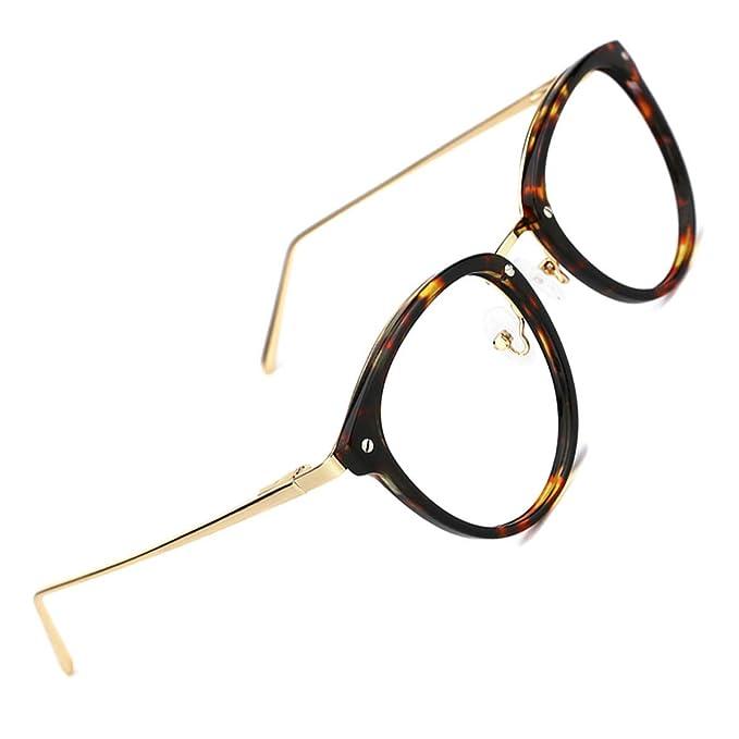 codice promozionale 30f02 679d2 TIJN Montature Occhiali da vista rotondi vintage con montatura per occhiali  senza prescrizione e lenti trasparenti per le donne