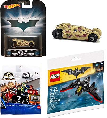 2017 Hot Wheels Tumbler Camo Retro & Lego Batwing with DC Comics Batman Unlimited Mighty Minis Figure Blind Box