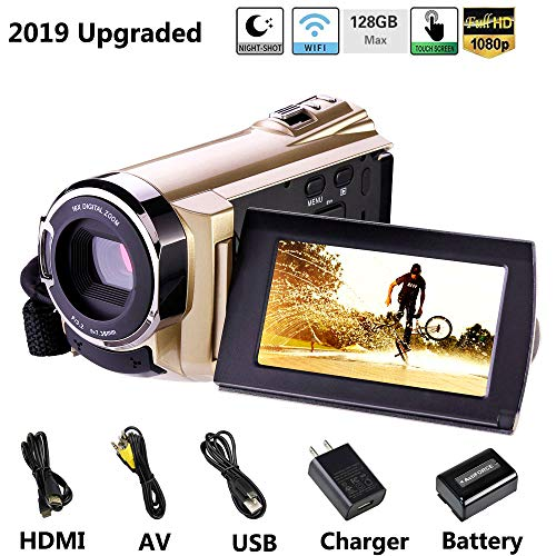 Hausbell Upgraded Camcorder 8.0Mega Pixels CMOS Sensor HDV-5052 IR Digital Video Camera Digital Camcorder WiFi Video Recorder 1080P Full HD/30fps Digital Zoom Camera Recorder HDMI Output