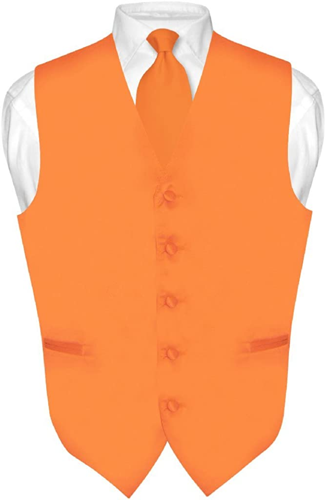Men's Dress Vest & Necktie Solid Orange Color Neck Tie Set for Suit or Tuxedo