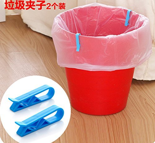 8Pcs Household Garbage Basket Can Waste Bin Dustbin Trash Can Junk Edge Bag Barrel Clip Clamp Plastic Lock Holder Hot Design Practical Home Office Use (8PCS random color) (Garbage Can Clips)