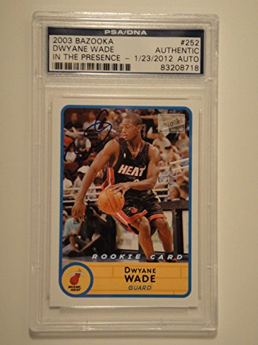 Dwyane Wade Signed 2003 Bazooka Rookie Card #252 Autograph Mint - PSA/DNA Certified - Autographed Basketball Cards