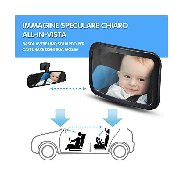 Specchietto Retrovisore Bambini Grande, Specchietto Auto Bambino, Specchietto Neonato Regolabile per Sicurezza… 2