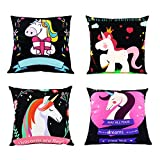 Focuh Cute Unicorn Pattern Throw Pillow Case Soft Fabric Rectangular Sofa Cushion Cover 18 x 18 Inch, Decorative and Practical for Girls Room-Set of 4 (B)