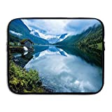 Landscape Photography With Wooden Cabins Clear River And Mountains Laptop Bag Tablet Case Shockproof Spill-Resistant Waterproof 15 Inch