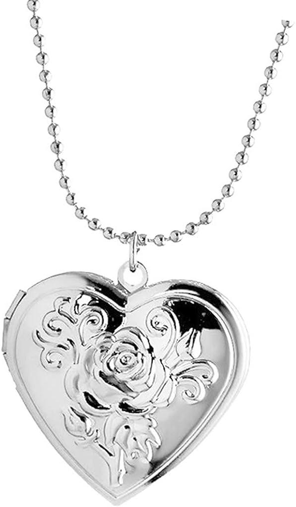 CUTICATE Rose Flower Vintage Heart Always in My Heart Photo Pendant Charm Locket Keepsake Necklace