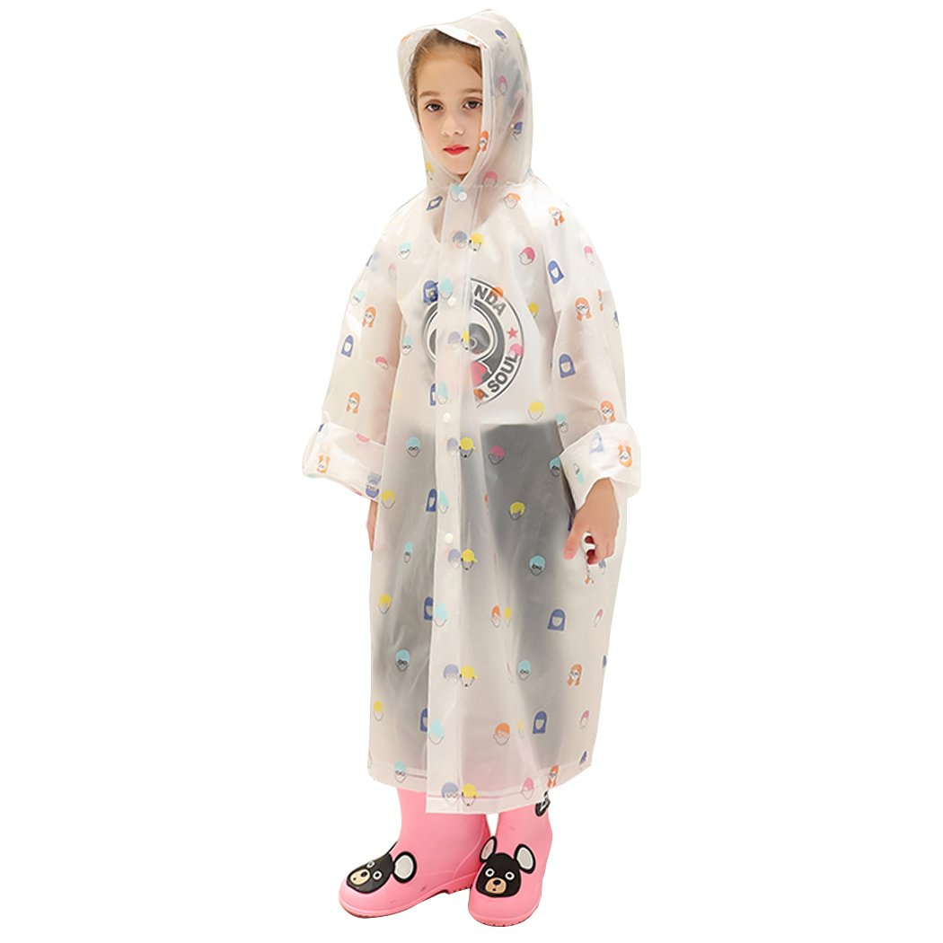 Waterproof Hooded Rain Poncho Jacket Transparent Patterned Print Coat for Kids Head Medium