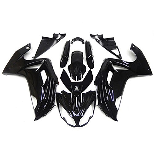 (ZXMOTO Motorcycle Bodywork Fairing Kit For Kawasaki Ninja 650 2012-2016 Painted Glossy Black,Tail Side Fairings Without Holes (Pieces/kit: 19))