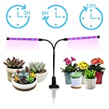 Plant Grow Lights 18W Dual Head, GEARGO 36 LED 5 Dimmable Levels for Indoor Plants with Red/Blue Spectrum, Adjustable Gooseneck [2018 Upgrade Version 3/6/12H Timer]