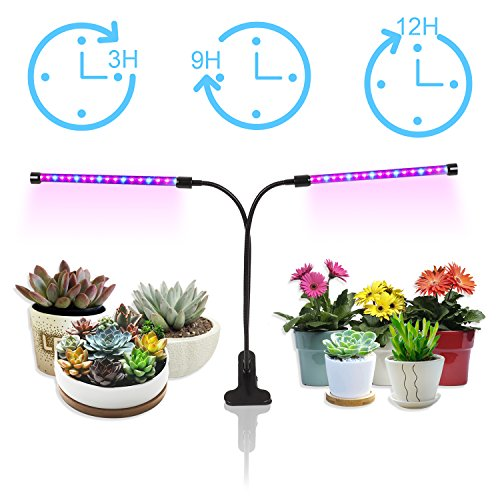 Plant Grow Lights 18W Dual Head, GEARGO 36 LED 5 Dimmable Levels for Indoor Plants with Red/Blue Spectrum, Adjustable Gooseneck [2018 Upgrade Version 3/6/12H Timer] by GEARGO