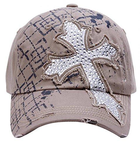 Beaded Cross Cap - TopHeadwear Beaded Cross Distressed Adjustable Baseball Cap - Khaki