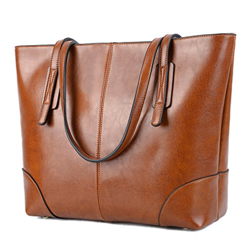 - YALUXE Genuine Leather Tote Women's Stylish Travel Shoulder Beach Bags