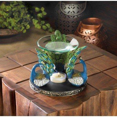 (Smart Living Company Peacock Plume Oil Warmer Aromatherapy Fragrance Diffuser Home Decor)