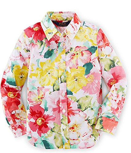 Ralph Lauren Girls' Floral Cotton Batiste Shirt (2/2T, PINK/WHITE MULTI) Girls Cotton Batiste