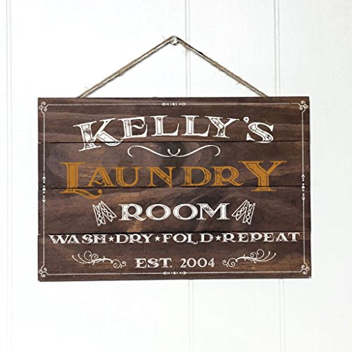 Personalized Laundry (Artblox Personalized Rustic Laundry Room Wood Sign Home Decor - Vintage Custom Name and Established Year, Premium Pine Wood Farmhouse Style Wooden Wall Art Country Pallet Plaque 8x12 - Brown)