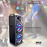 Portable Bluetooth PA Speaker System - 2000W Active powered Outdoor Bluetooth Speaker Portable PA System w/ Microphone In, Party Lights, USB SD Card Reader, AUX/RCA/FM Radio, Wheels - Pyle PSUFM1043BT